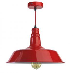 lampara industrial metal rojo